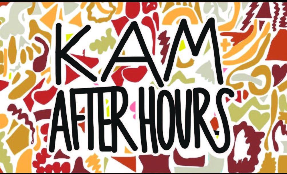 Colorful shapes in reds, greens, yellows, and browns with the words KAM AFTER HOURs in black.
