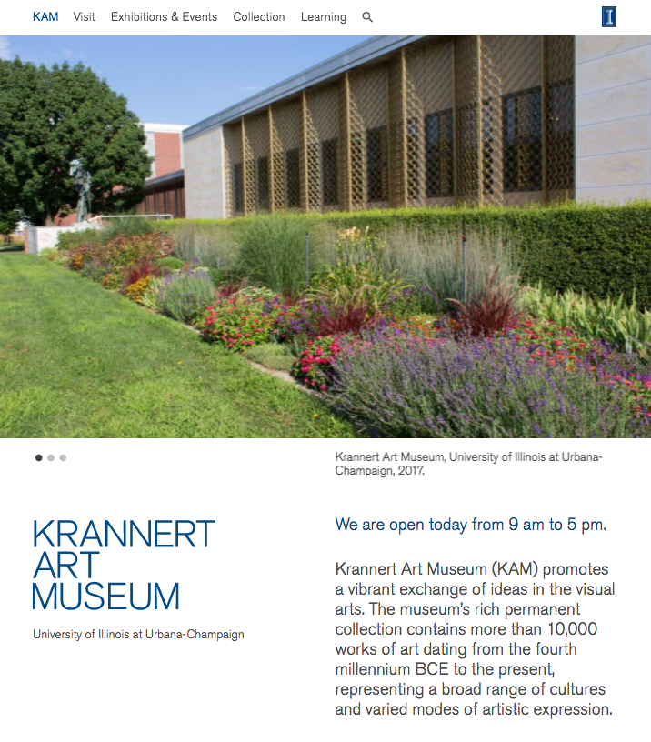 Krannert Art Museum Website, August 2017