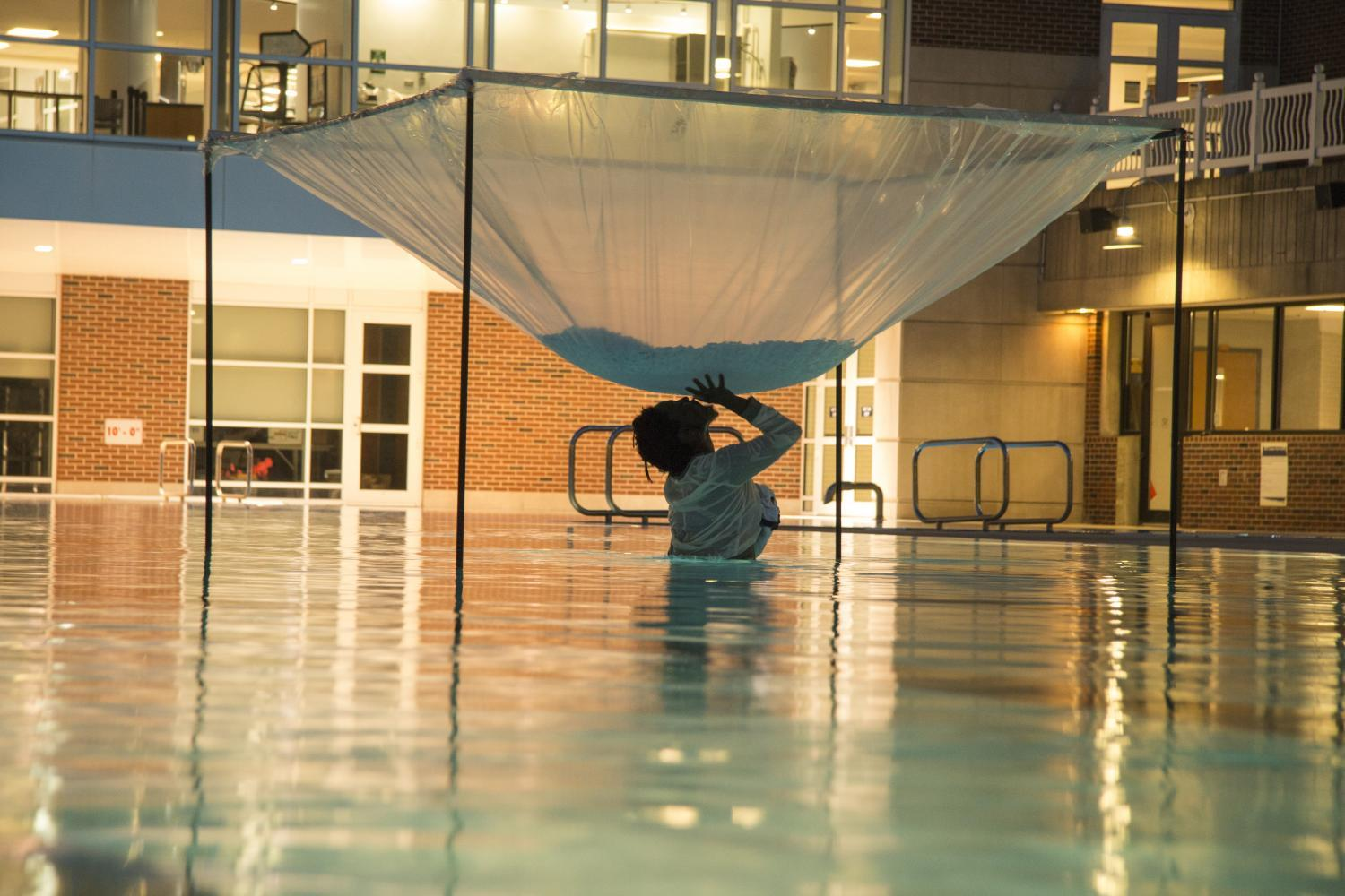 An experimental freezing of a room through metaphorical means, with Autumn Knight, performance at University of Illinois Activities and Recreation Center, April 19, 2017.