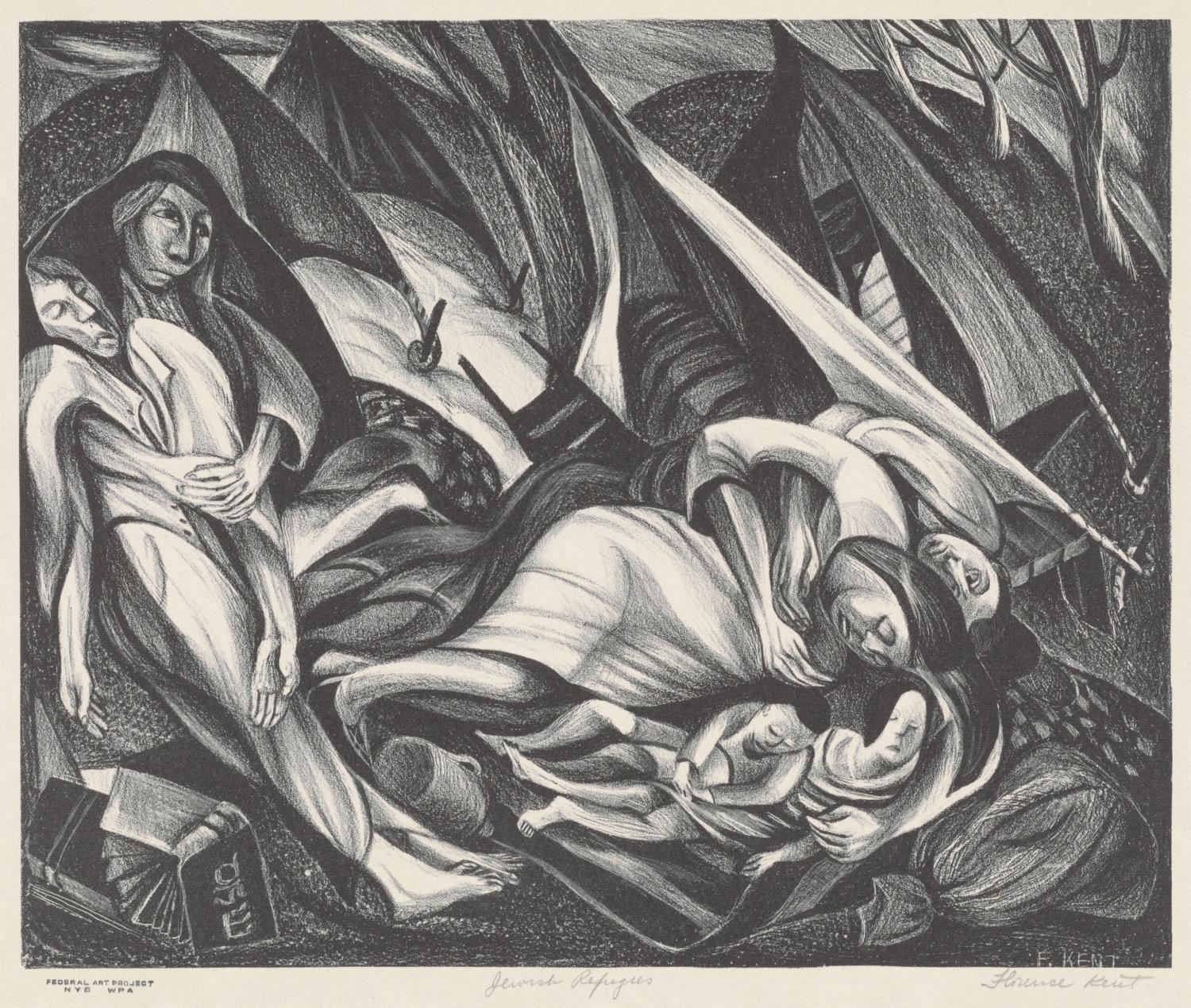 Florence Kent, Jewish Refugees, 1935–1943. Lithograph. Allocated by the US Government, Commissioned through the New Deal art projects, 1943-4-210.