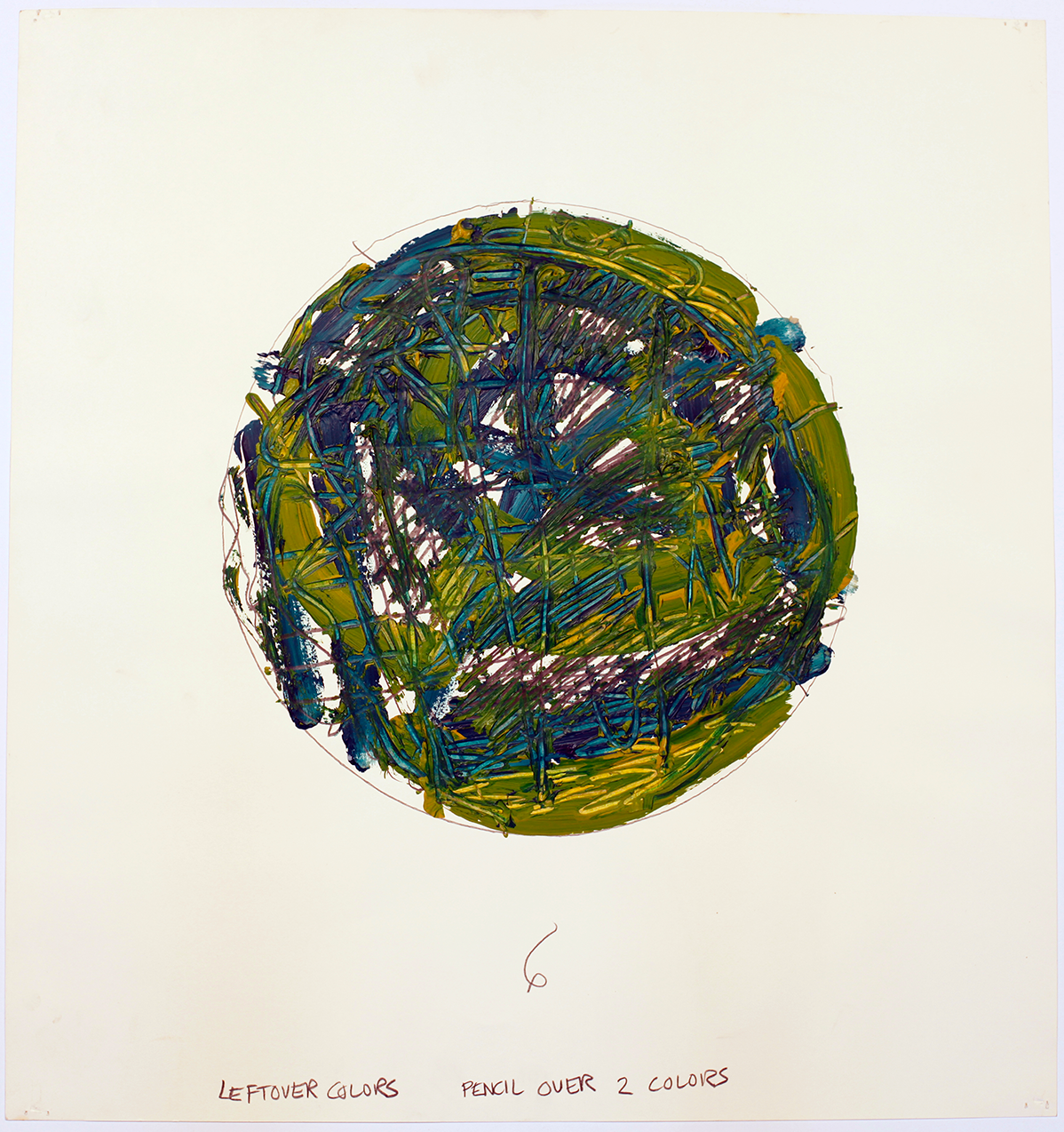 Circular abstract painting in blues and greens, A pencil has been used to inscribe words on the thickly applied acrylic paint. By abstract artist Louise Fishman