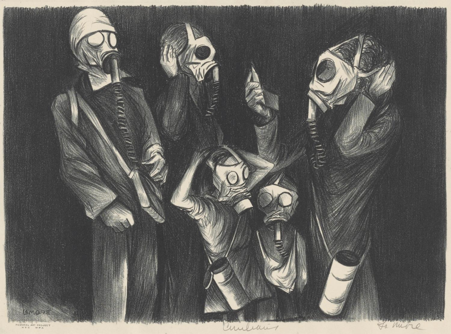 Chet La More, Civilians, ca. 1937. Lithograph. Allocated by the US Government, Commissioned through the New Deal art projects, 1943-4-231.