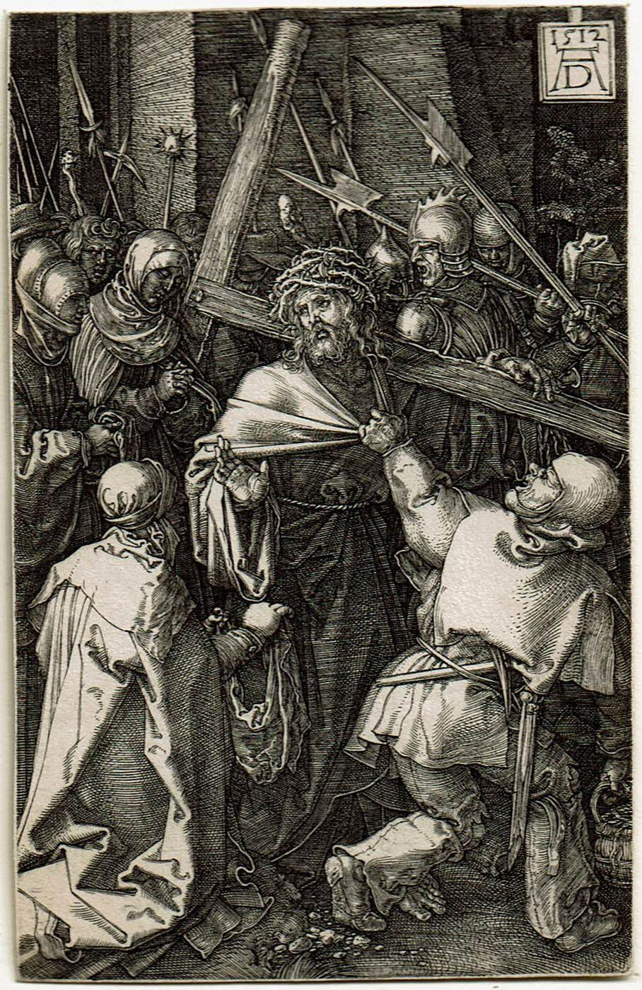 Black and white print by Albrech Durer of Christ carrying the cross. He is surrounded by soldiers that resemble monsters or ogres carrying spears and clubs.