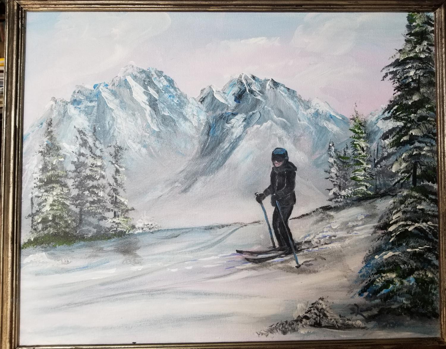 framed painting of a girl on skis in a snowy landscape