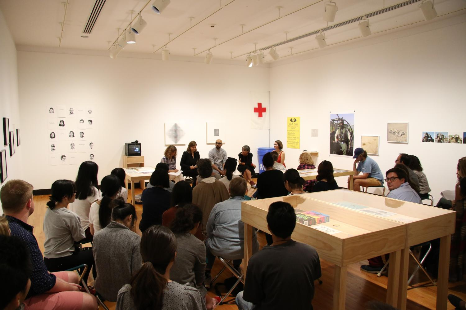 Crossings and Borderlands Gallery Conversation included Faranak Miraftab, Ellen Moodie, and Junaid Rana. It was moderated by Amy L. Powell and Terri Weissman.