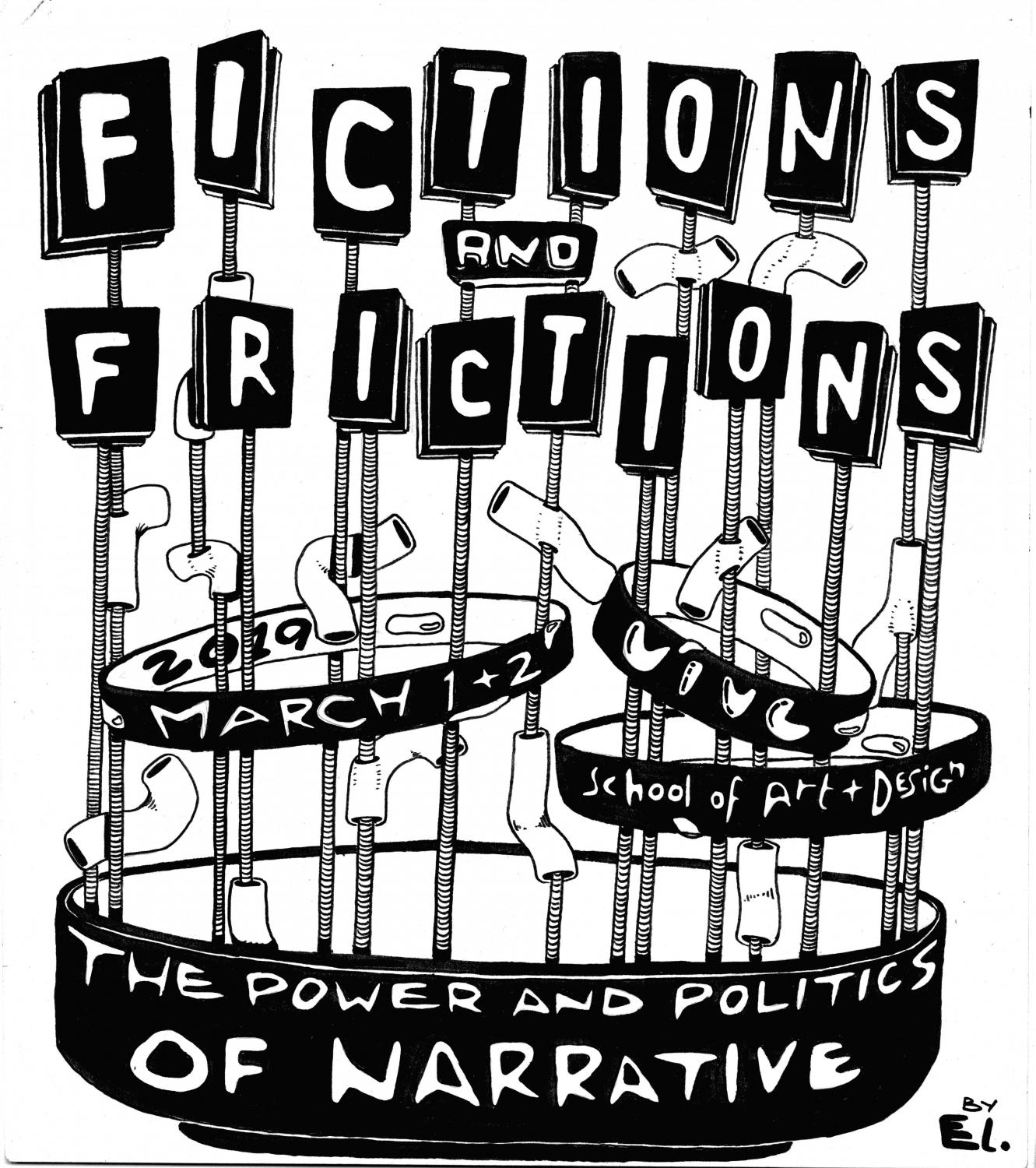 Fictions and Frictions Symposium at Krannert Art Museum, 2019. Artwork by Elena Sotos.