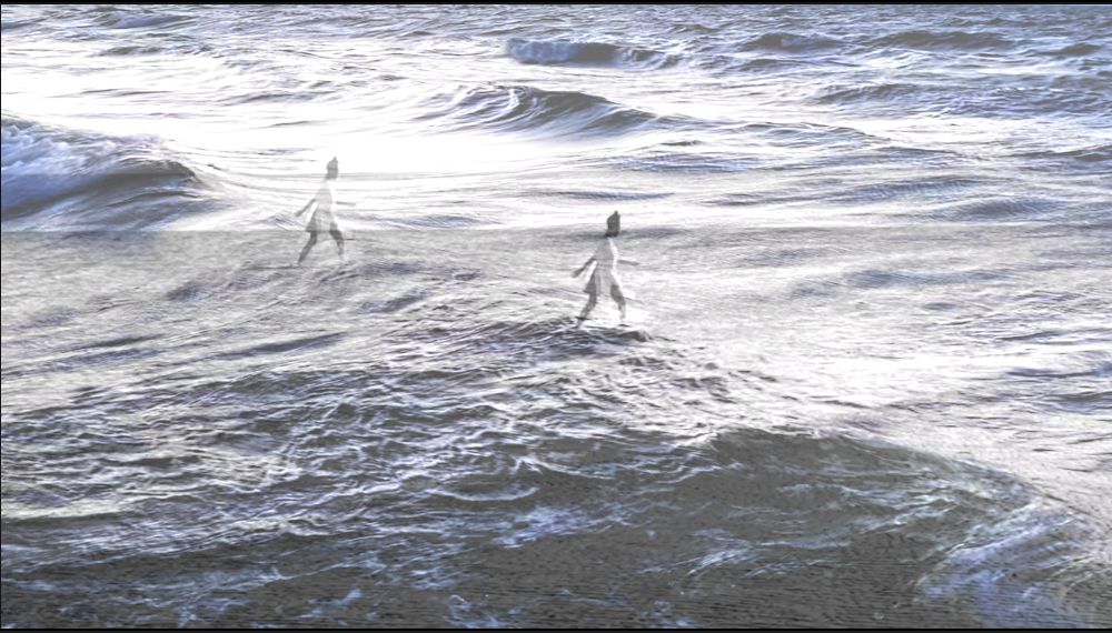 ocean waves with images of women or girls dressed in white walking on the water