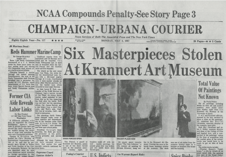 Front page news in the Champaign-Urbana Courier about artwork theft at Krannert Art Museum, May 8, 1967.