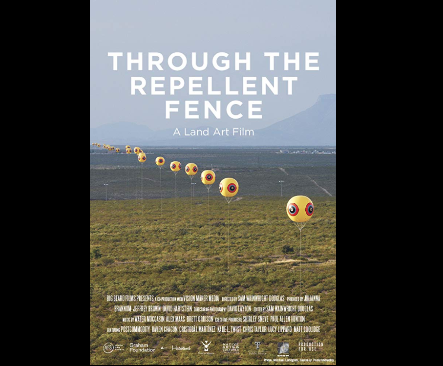 """Movie Poster for """"Through the Repellent Fence,"""" 2017. 74 min, color. Directed by Sam Wainwright Douglas. Depicting a landscape with yellow and red balloons installed along the US-Mexico border."""