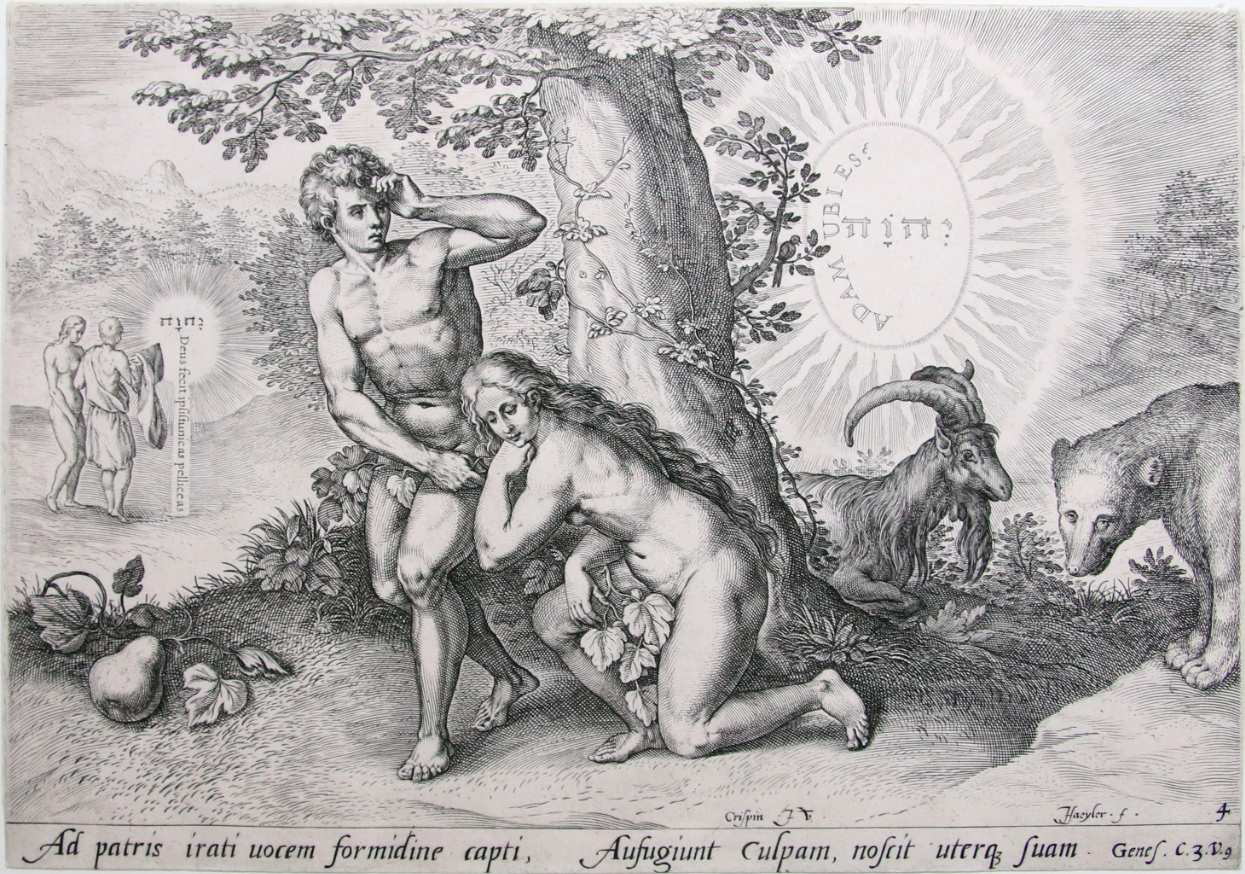 Black and white engraving of Adam and Eve at center near a tree. Adam is standing, Eve kneeling at his side. Both have fig leaves. A goat and bear are at right, two clothed figures are at left. There are large sunbursts at center with Hebrew characters.