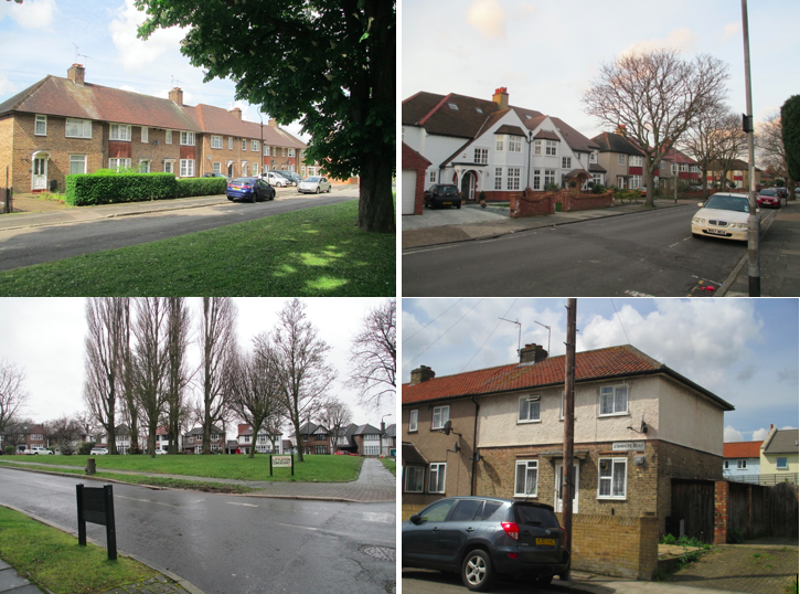 Grid of four photographs of homes/townhouses and streets in West London taken by Sharon Irish.