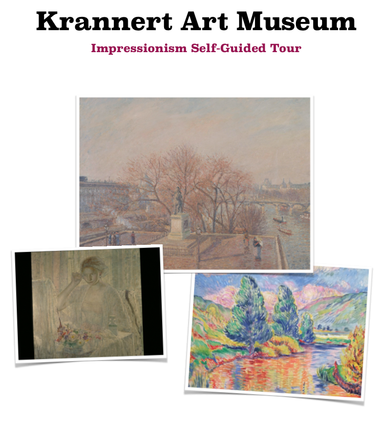 Front of a self guide from Krannert Art Museum about Impressionism. It shows images of impressionist paintings in the museum collection.