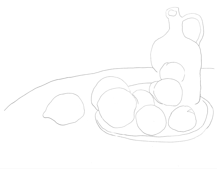 A coloring worksheet with lines illustrating a plate of fruit and a jug placed on a table.