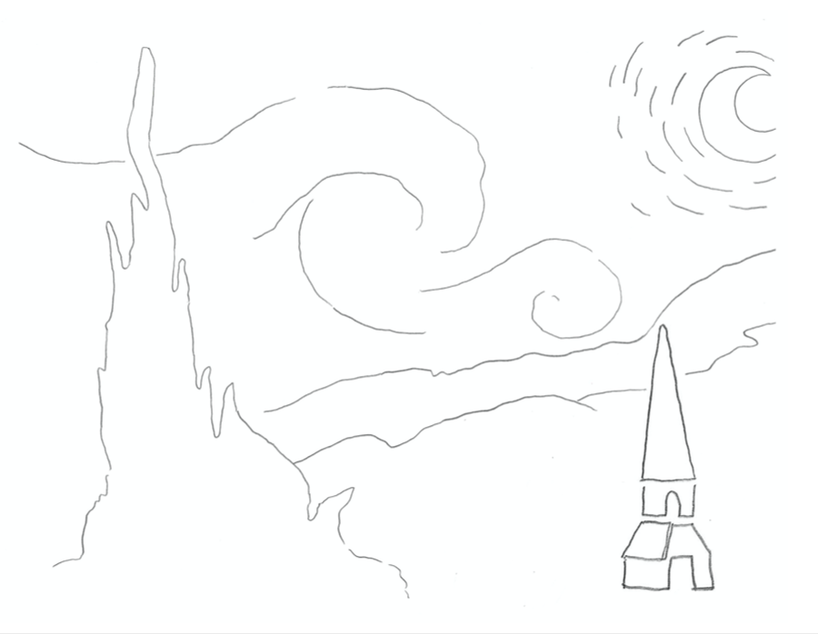 A coloring worksheet with lines that illustrates the moon, wind, and a tower.