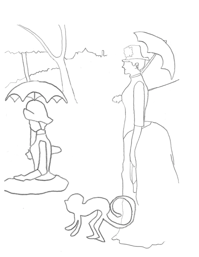 A coloring worksheet that lines out two ladies holding umbrellas and a monkey.