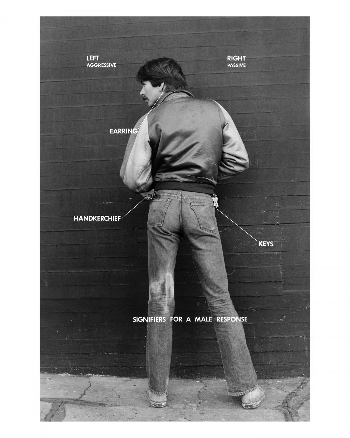 Hal Fischer, Signifiers for a Male Response from Gay Semiotics: A Photographic Study of Visual Coding Among Homosexual Men, 1976. Carbon pigment print, 20 x 16 inches. Courtesy the artist © Hal Fischer