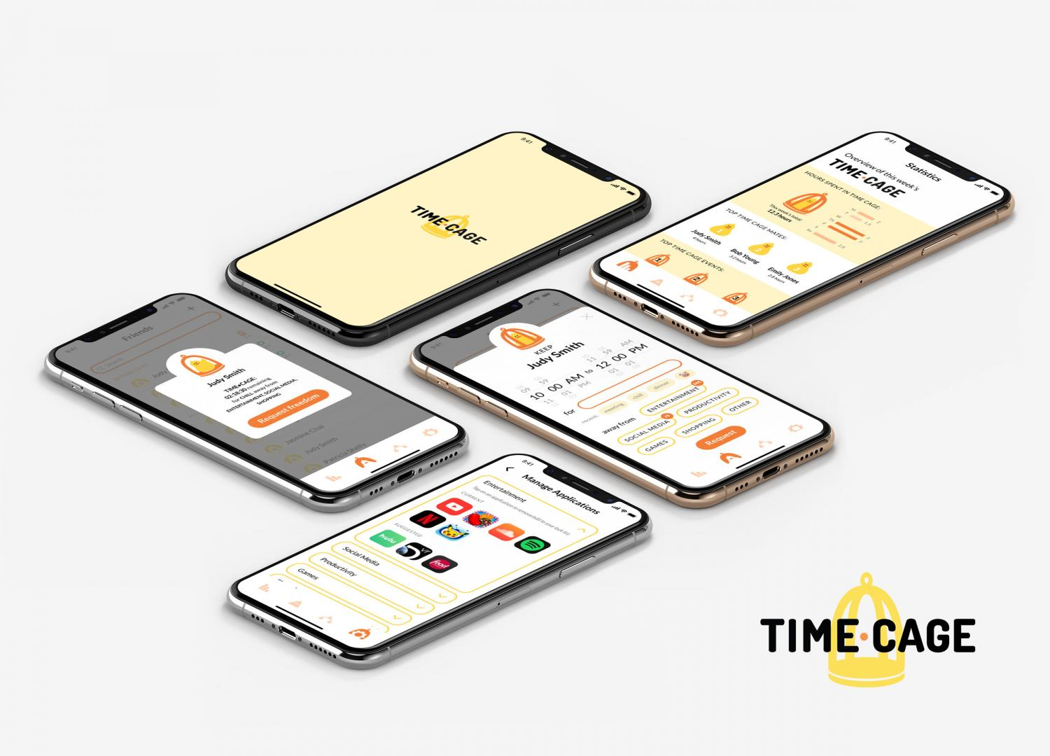 """Image of phones with UI/UX concept that uses metaphor of a bird cage, enabling users to lock applications on their friends' and their own phones using a """"time cage"""" while they are together."""