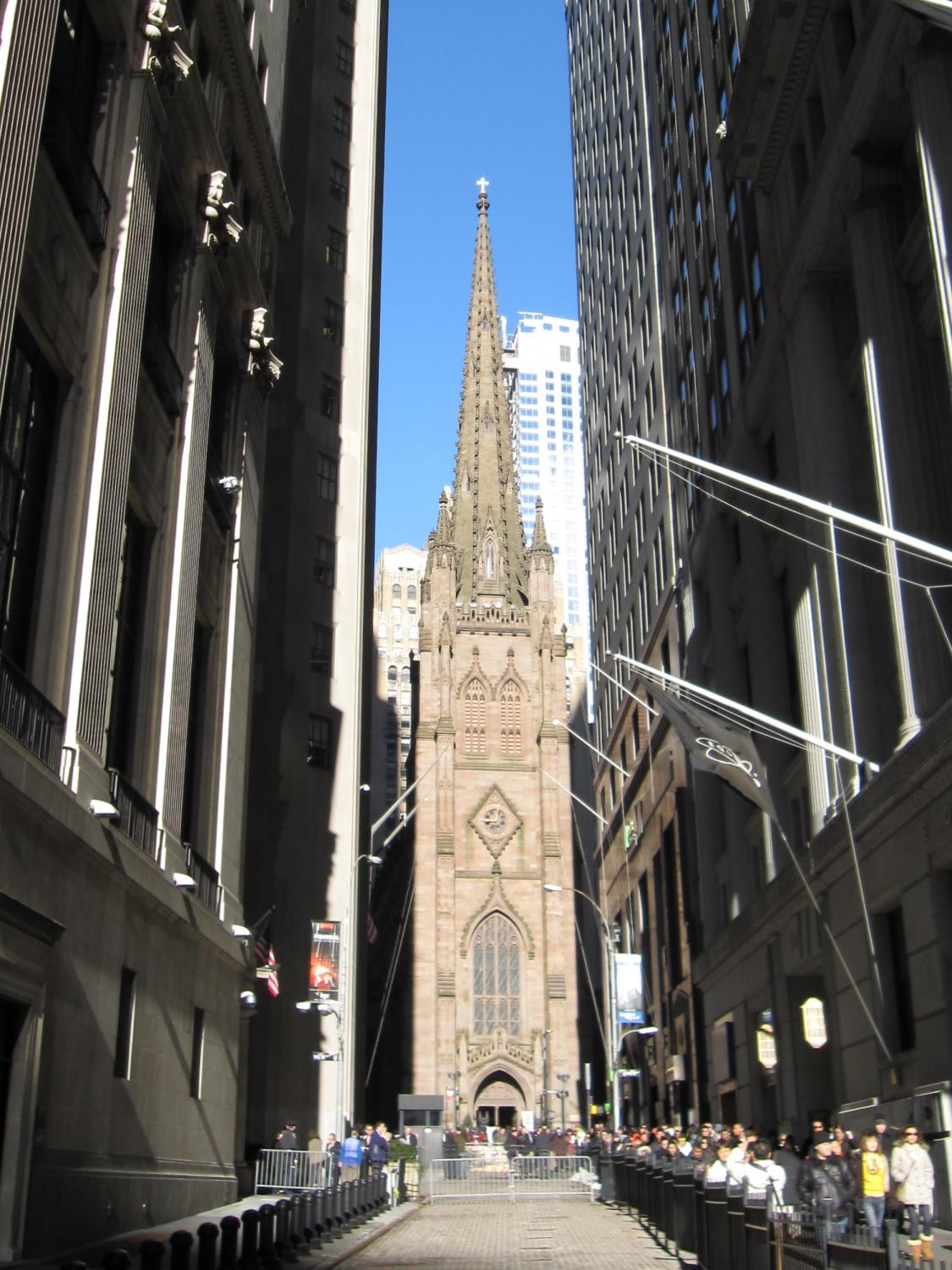 This image shows the Trinity church in New York. The tower is designed in a Gothic Revival style.