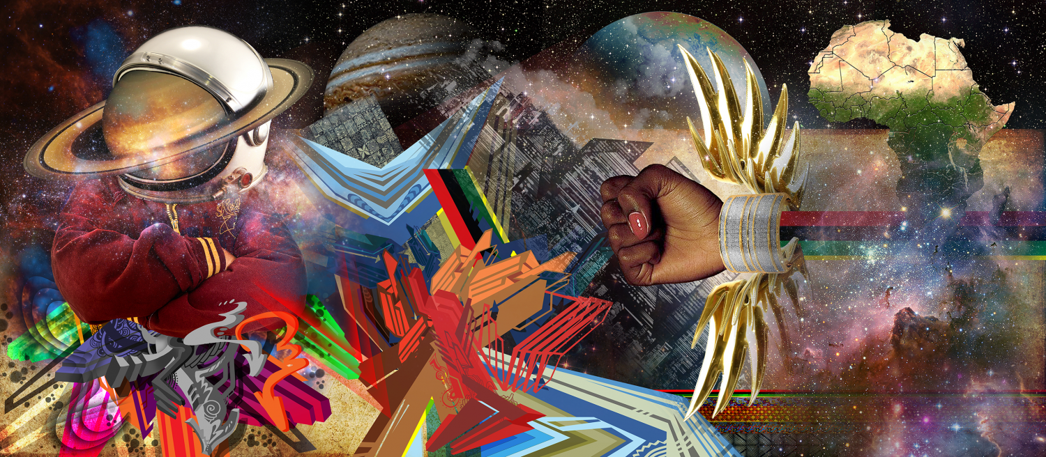 Brightly colored Afrofuturist landscape with a man in a space helmet and arms crossed at left, a disembodied, winged black woman's hand punching in the center, clouds, stars, nebula, and the continent of Africa at right