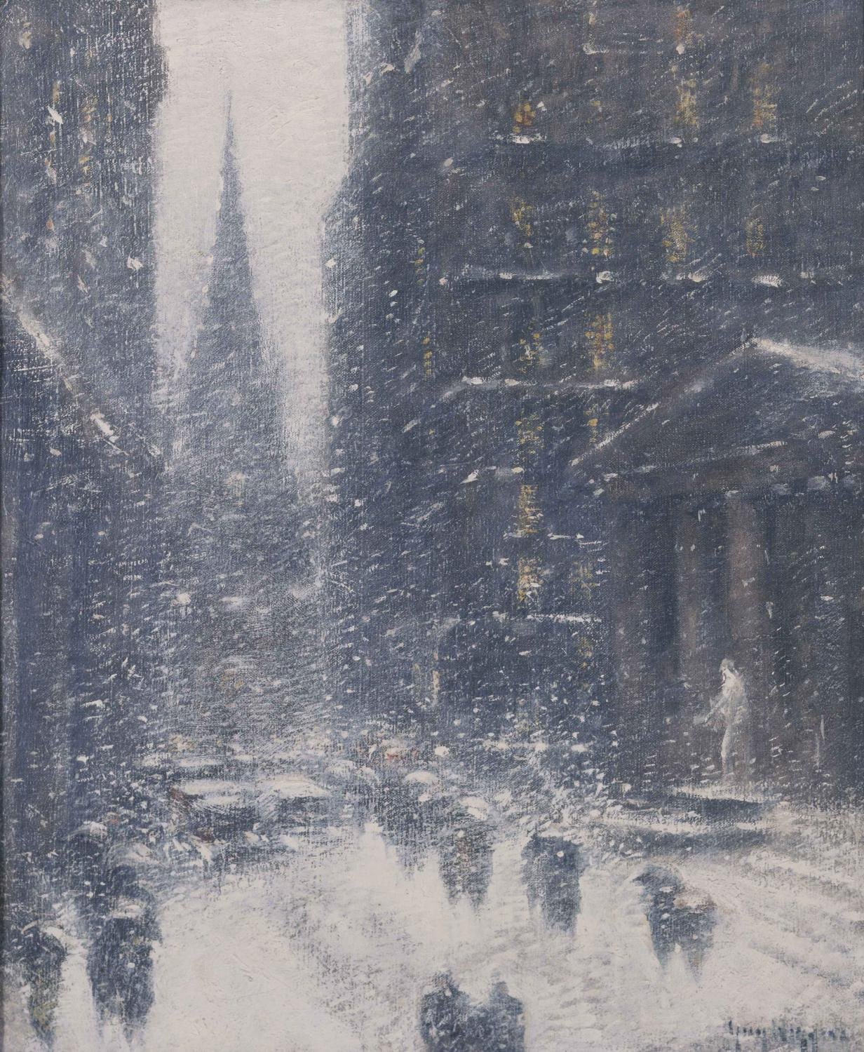 New York Wall Street with heavy snow. Pedestrians silhouettes walking between the buildings, with dime lights shining through the windows.