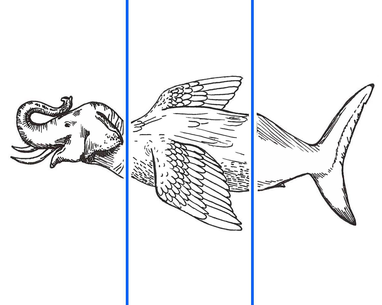 Sample drawing of the lesson plan's activity. An elephant head is attached to a bird body and a shark tail to create a new composite creature.