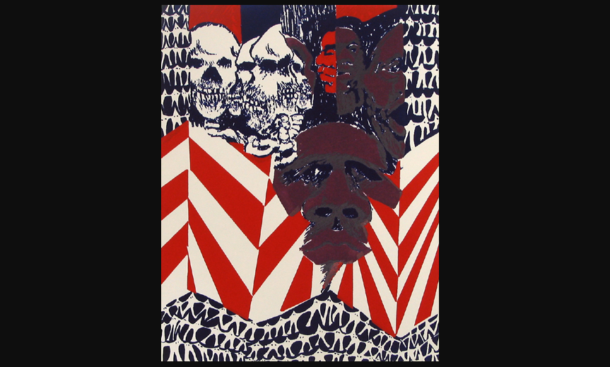 Color print of the american flag with a brown face in the center and white faces and skulls in the upper left.