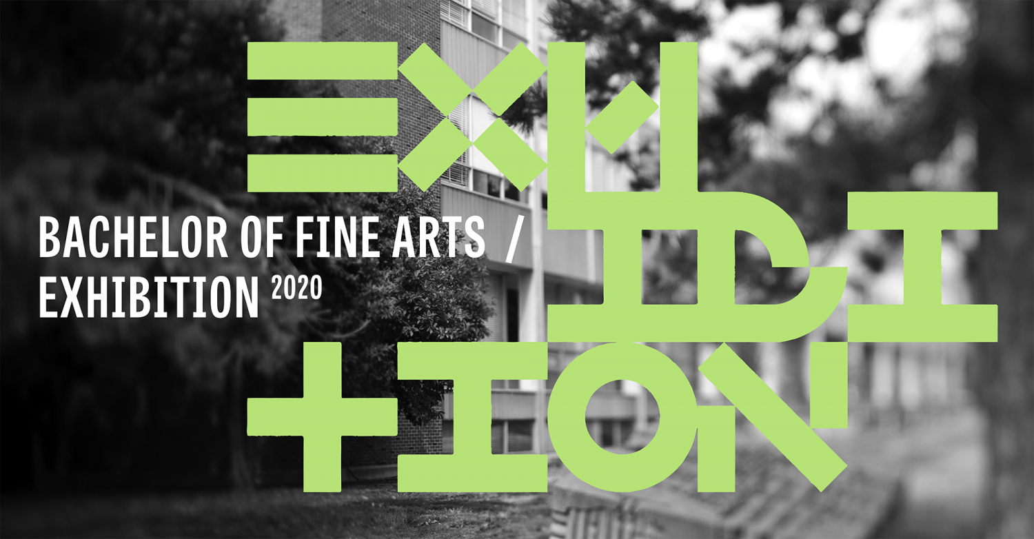 black and white image of the front of the school of art and design at Illinois with green type that says BFA exhibition. the typography is artistically presented and broken into several lines