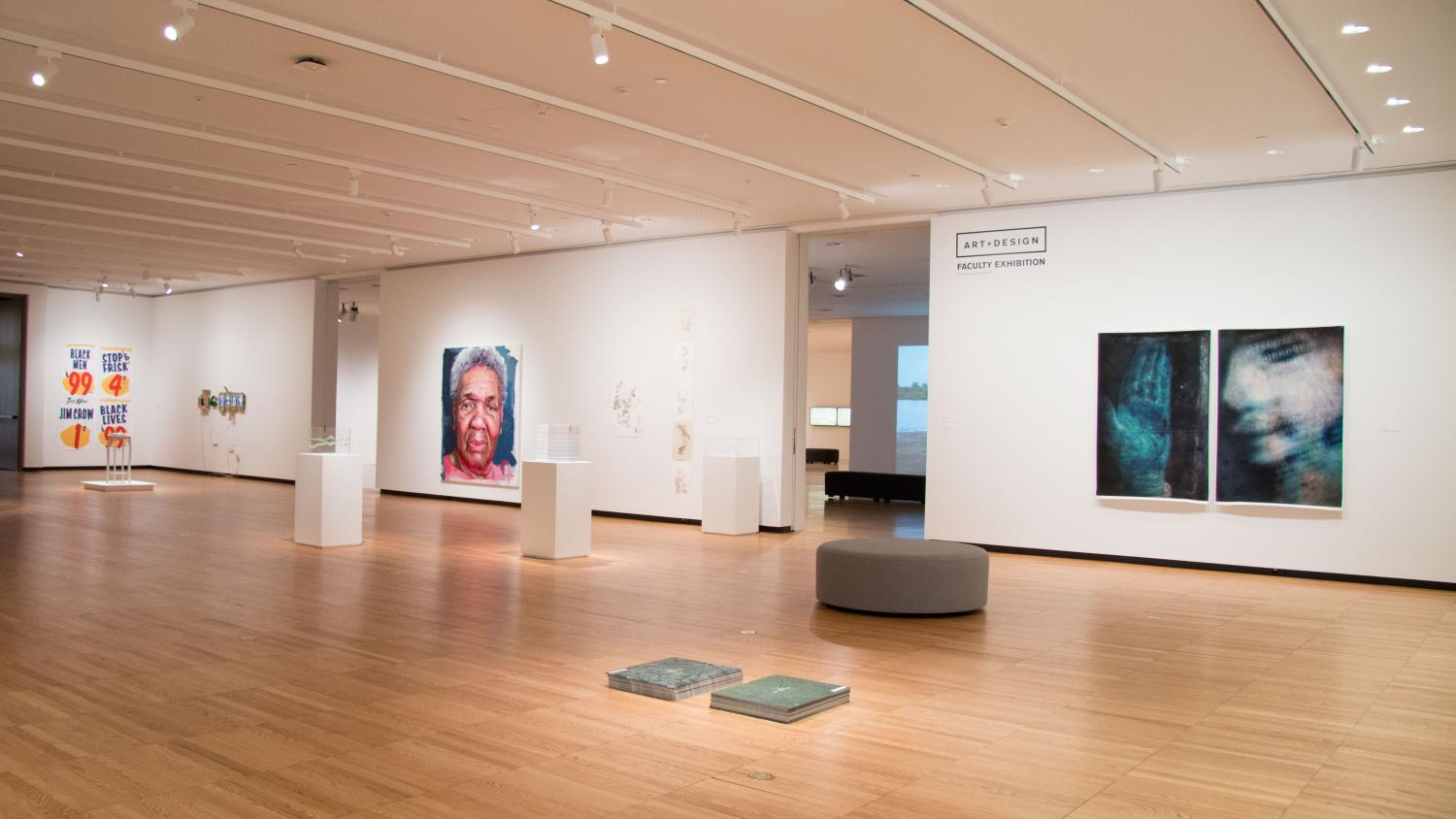2016 Art + Design Faculty Exhibition, installation at Krannert Art Museum. Featuring works by Nekita Thomas, Billie Thiede, Jorge Lucero, Stephen Cartwright, Patrick Earl Hammie, Rachel Riley, Ryan Griffis, and Joseph Squire. Photo by Julia Nucci Kelly