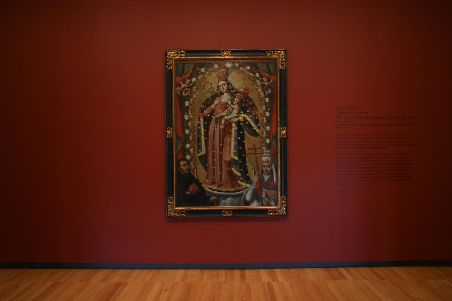 Cuzco School (active Cuzco, Peru, 16th–18th century), Our Lady of the Remedies of La Paz, ca. 1750. Welcome Wall installation at Krannert Art Museum, 2018. Photo by Jessica L. Hung.