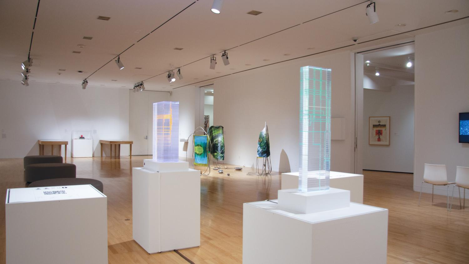 Sculptures by Stephen Cartwright containing layers of clear and colored resin are on pedestals in the foreground. Freeform sculpture of foil and fabric by Melissa Pokorny are in the background in this gallery image of the Faculty Exhibition at KAM.