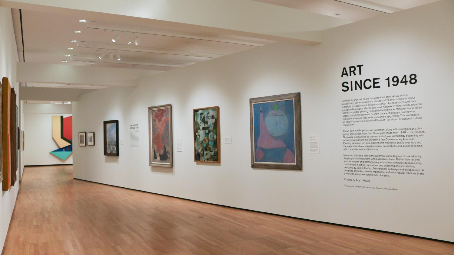 gallery view of entry wall of Art Since 1948 with the exhibition title text and art from the museum's modern and contemporary collection.