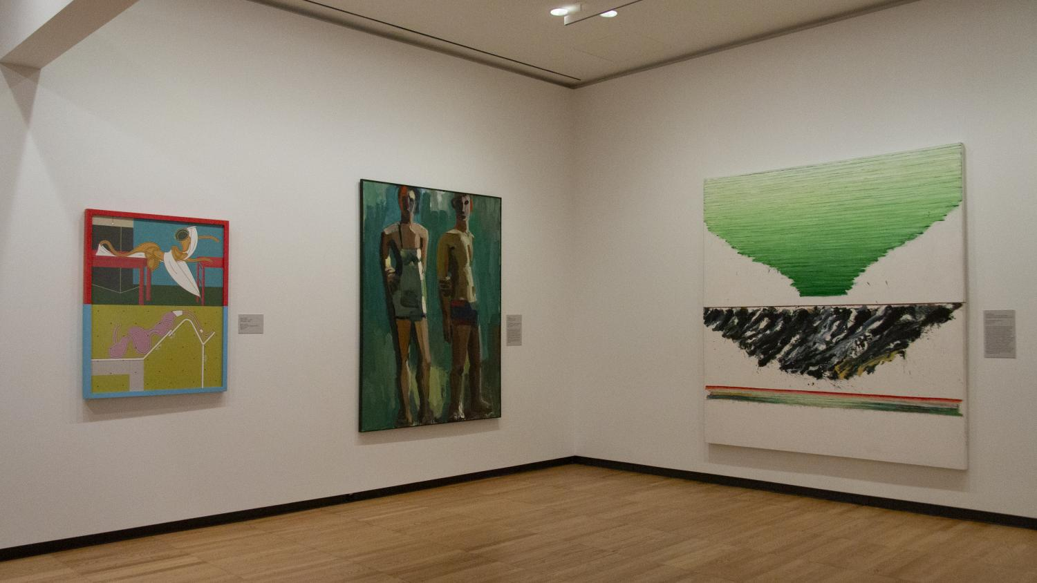 Three paintings in a gallery. At left is a brightly colored assembly of shapes, at center is a standing couple in summer gear, at right is an abstract work that resembles a green tornado. All are giant canvases, taller than a grown man.