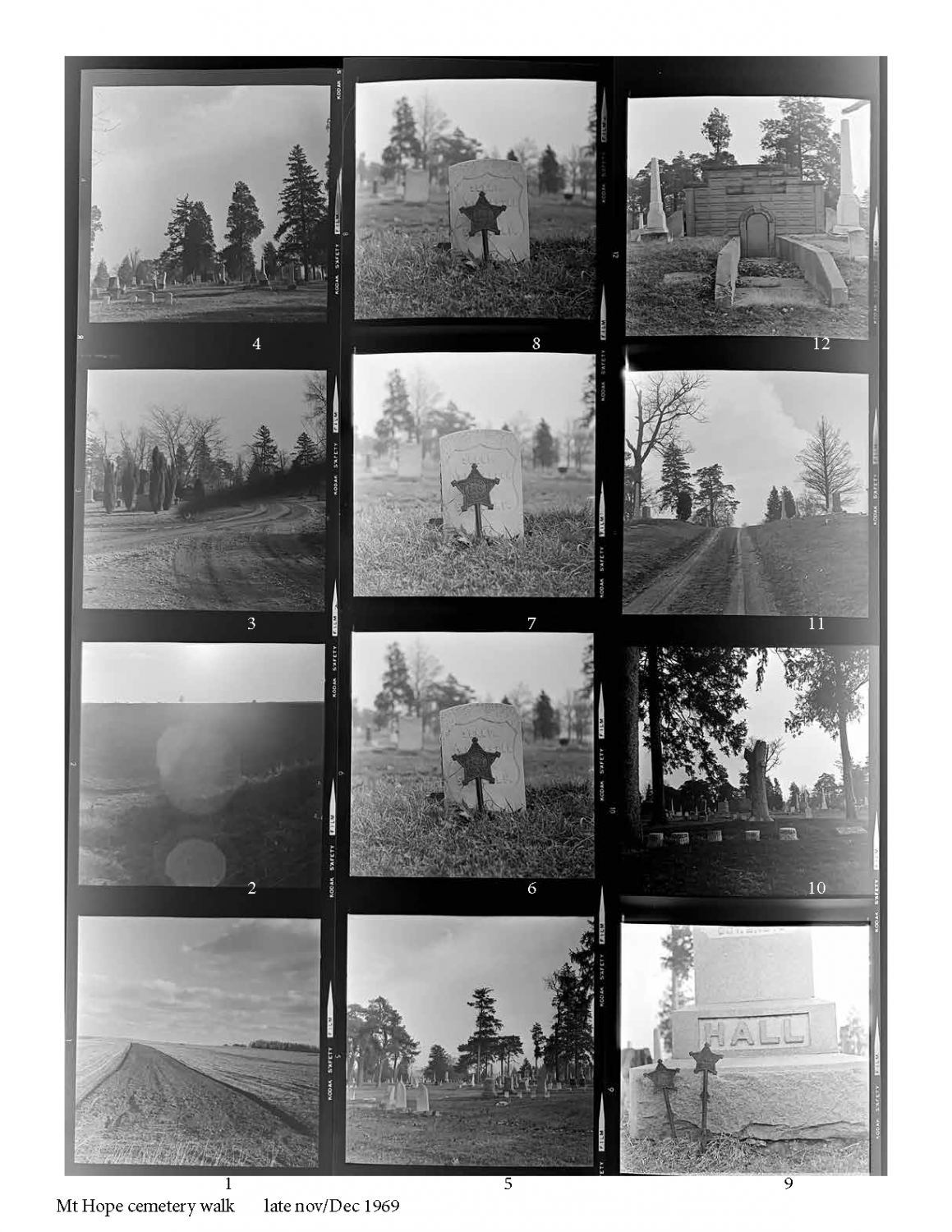Grid of images of headstones taken in Mt. Hope Cemetery in Champaign, Illinois by artist Bea Nettles. The images were taken while she was an MFA student at the University of Illinois.