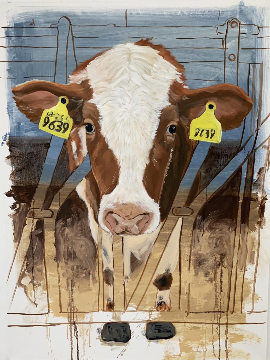 Painting of a cow with tagged ears on a factory farm. It sticks its head forward between bars that keep it from moving.