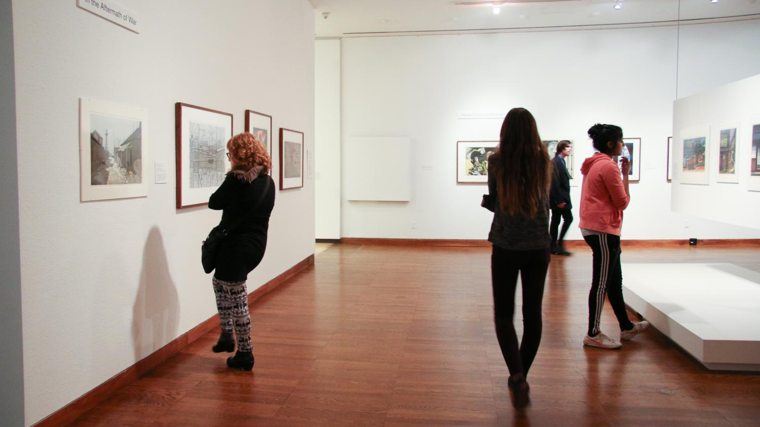 With the Grain: Japanese Woodblock Prints in the Postwar Years, installation at Krannert Art Museum, 2015