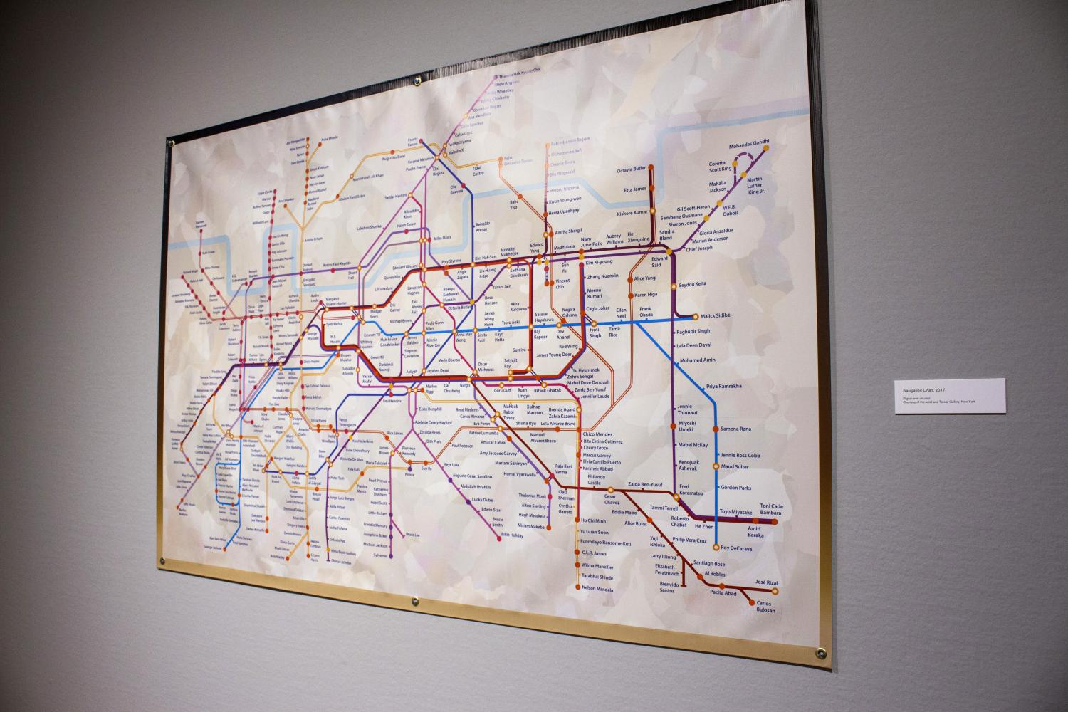 A vinyl artwork that looks like map of the London underground subway system. The names of each Subway stop have been changed to the names of influential people of color.