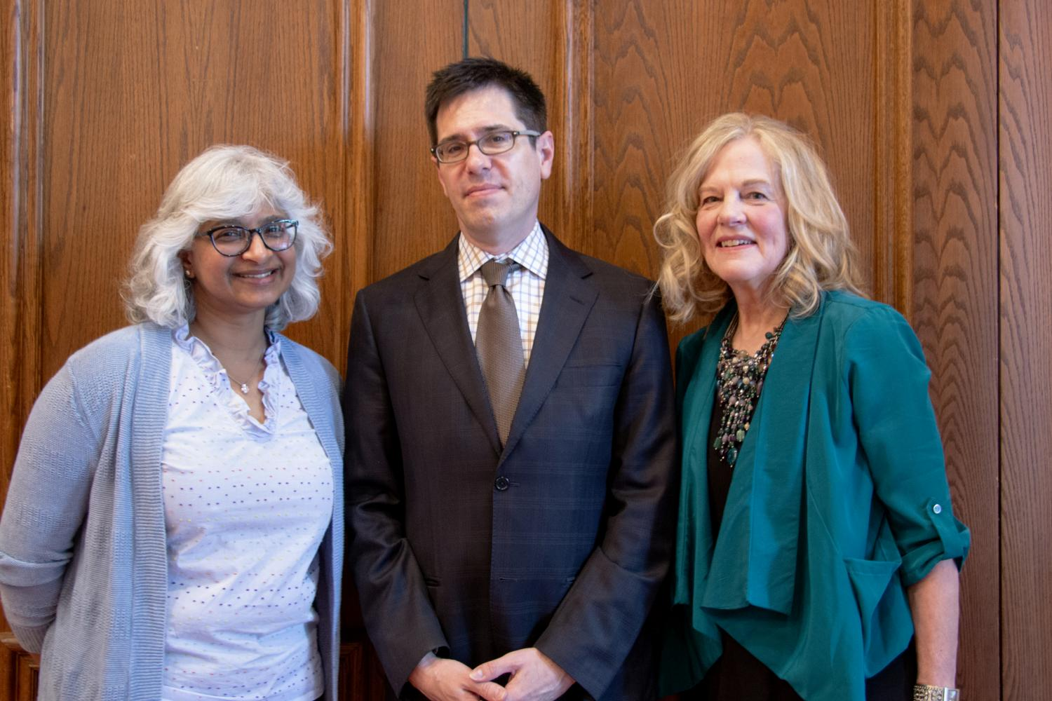 (L to R) Outgoing KAM Council President Lisa Kocheril, Museum Director Jon Seydl, Incoming KAM Council President Sharon Williams. Photo by Julia Nucci Kelly, 2019.