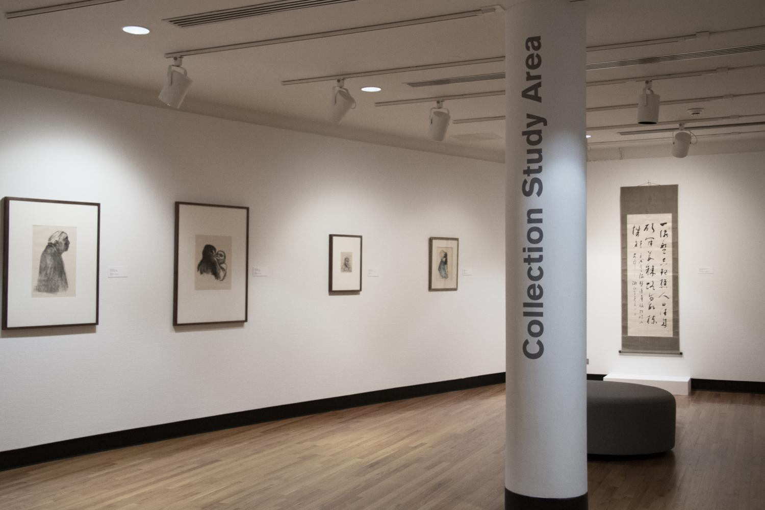 Prints and engravings on display in the Collection Study Area on the lower level at Krannert Art Museum, 2019.
