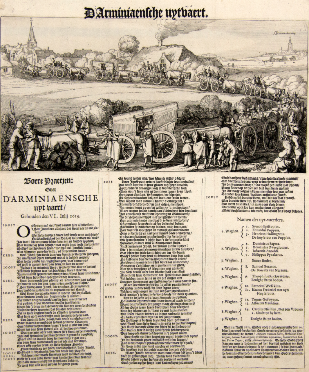 17th century broadside featuring a long line of migrants in matching clothing and hats loaded up in wagons snaked through the countryside. They are Dutch Remonstrants exiled for retaining their faith. Three dense columns of text are beneath the image.