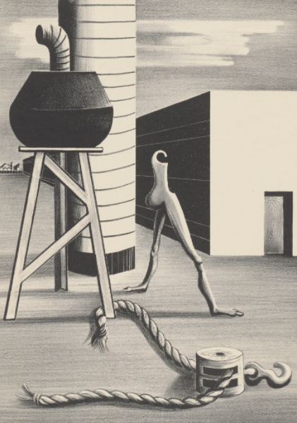 A black and white print that depicts a surrealist image of a headless walking figure in an industrial environment made of cartoonish shapes.