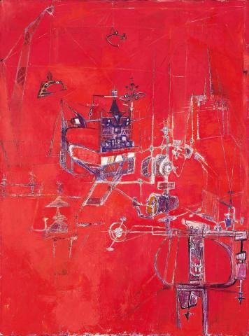 Hedda Sterne, Machine Five, 1950. Oil, canvas. Festival of Arts Purchase Fund 1950-7-1