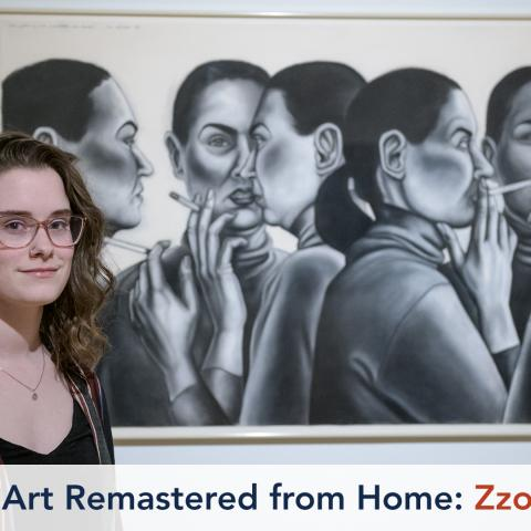 A young women stands in front of a large drawing featuring the artist in different poses, sometimes smoking a cigarette.